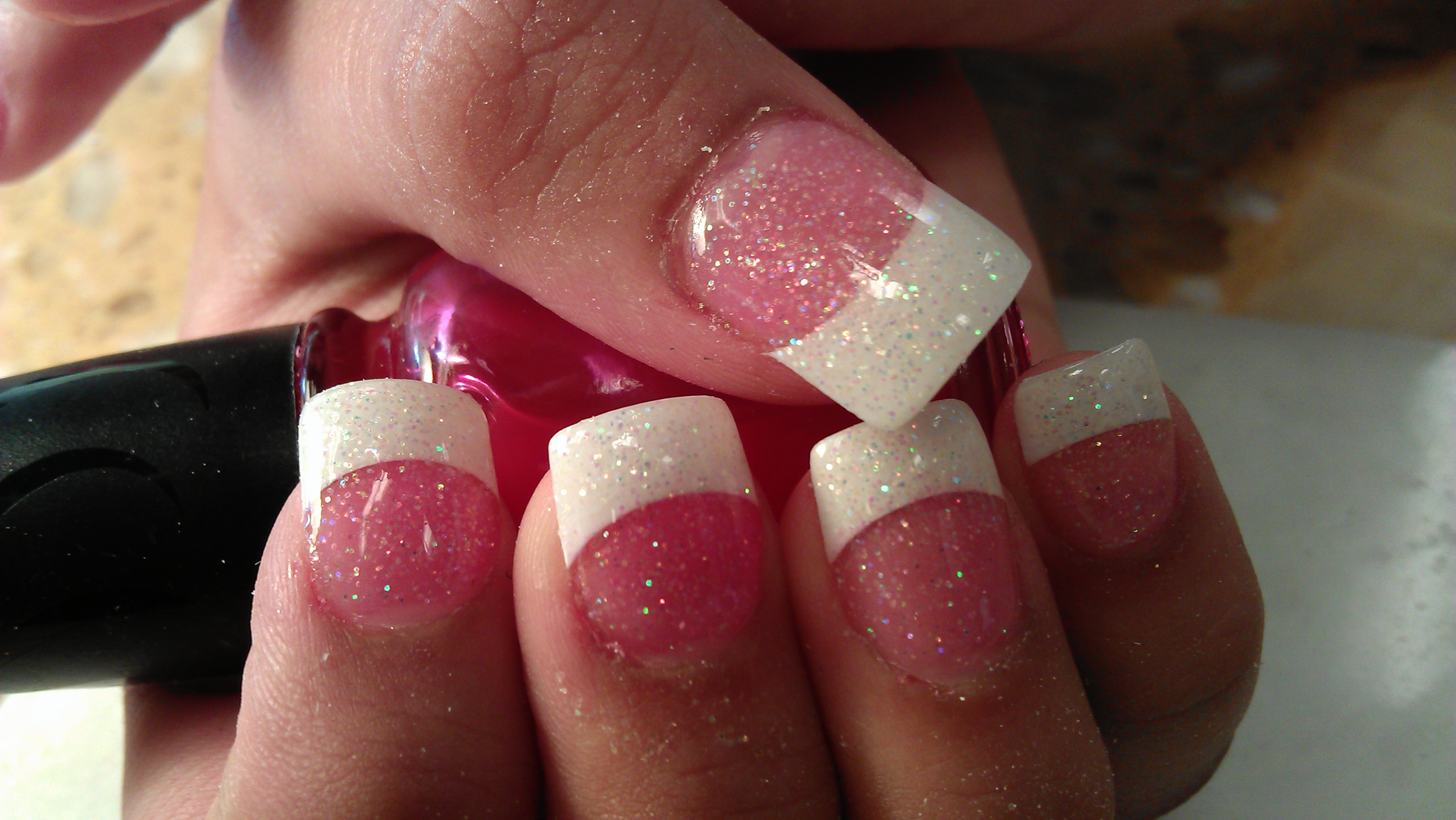French Manicure Pink White Glitter Nails