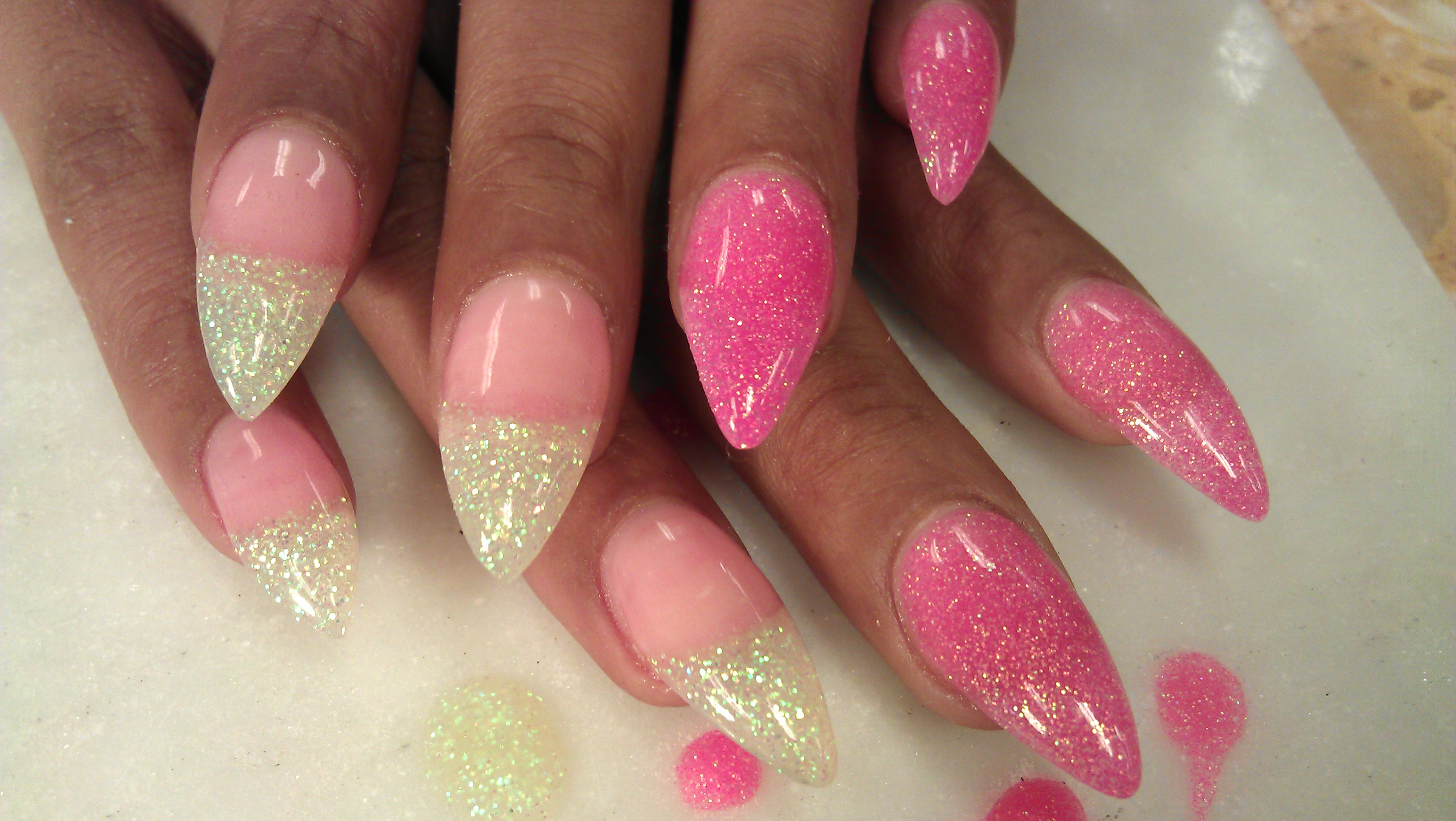 French almond nails ombre glitter - About Us Acrylic Nails Acrylic Nails And Nail Art